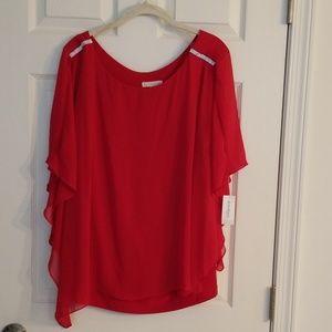 Dressbarn 2x red kimono sleeve blouse nwt